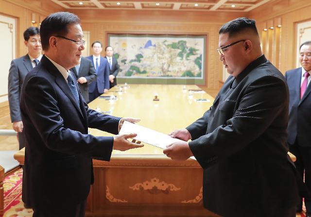 韩国特使向金正恩转交文在寅亲笔信