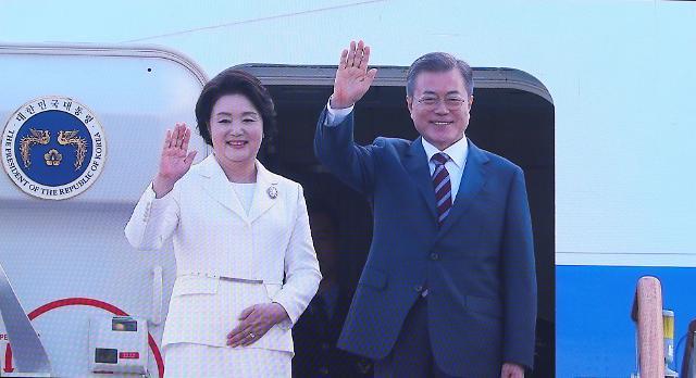 文在寅总统夫妇登机启程前往平壤