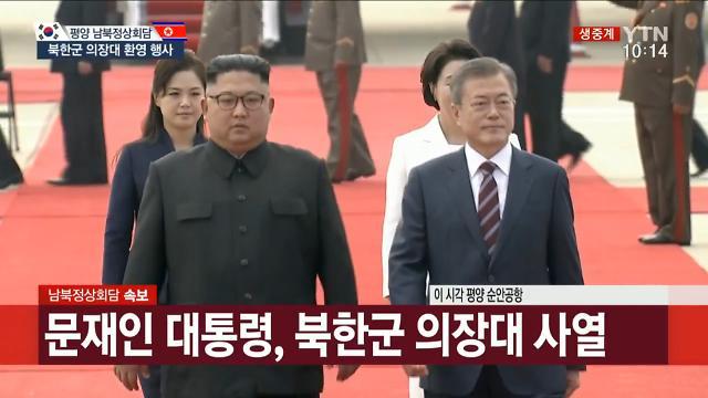 文在寅检阅朝鲜三军仪仗队