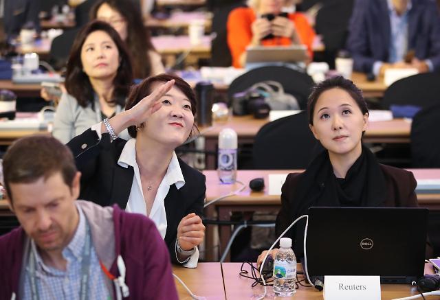 各国媒体齐聚新闻中心 见证韩朝首脑会面一刻
