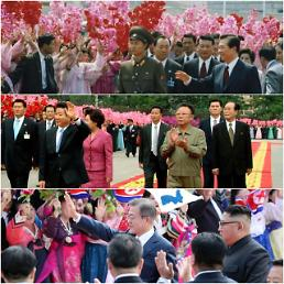 .三届韩国总统访朝欢迎式.