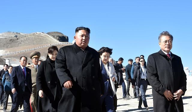【组图】韩朝首脑一行游览白头山
