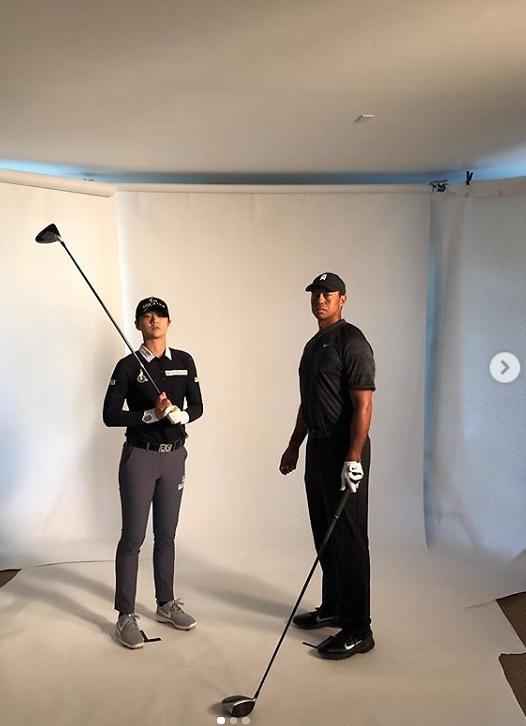 LPGA player Park Sung-hyun uploads photograph with Tiger Woods