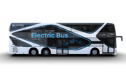 .Hyuindai Motors first double-decker electric bus makes debut .