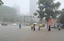 [중국포토] 역대급 폭우 예고에 중국 곳곳 초긴장