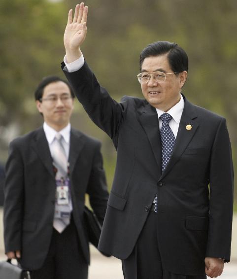 .[영문] Hu Jintao arrives for the second plenary session at the APEC.