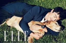 .Actor Daniel Henney poses with his dog Mango for 'Elle' magazine.