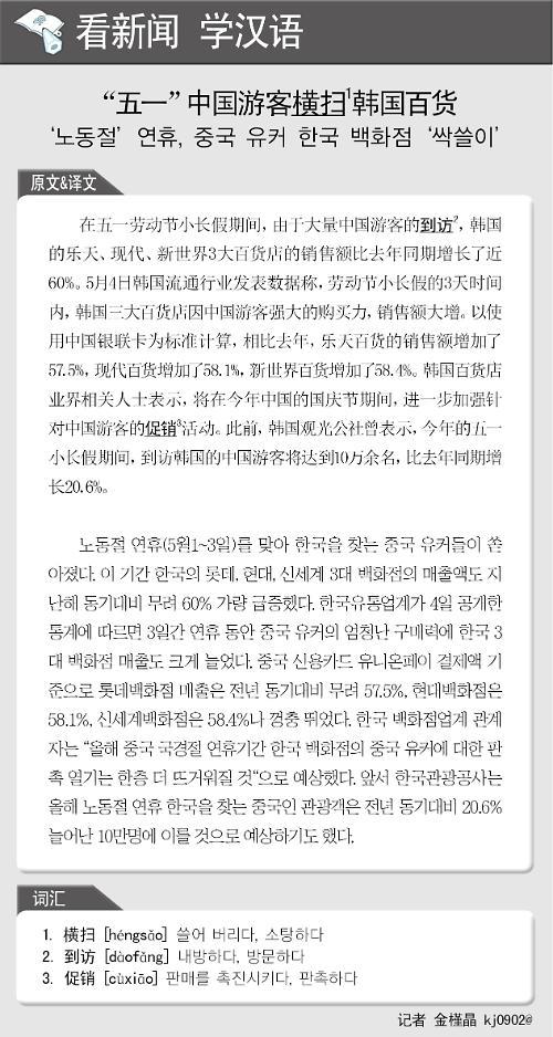 [뉴스중국어] 노동절 연휴, 중국 유커 한국 백화점 '싹쓸이'