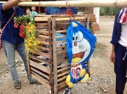 .活猫祭天祈雨太残忍 泰国村民拿哆啦A梦当替身.