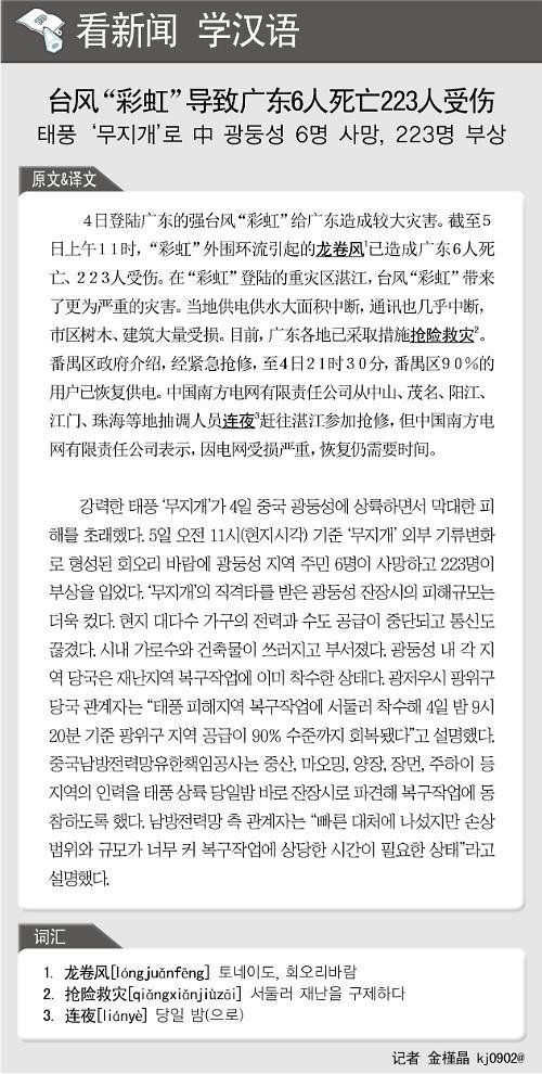 [뉴스중국어] 태풍 무지개로 中 광둥성 6명 사망, 223명 부상
