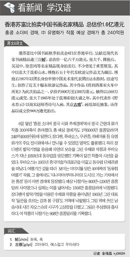 [뉴스중국어] 홍콩 소더비 경매, 中 유명화가 작품 예상 경매가 총 240억원