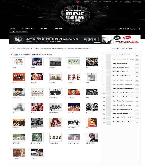 올해 최고의 가수는 누구? …'2015 MAMA'를 빛낼 별들 찾기 온라인 투표 개시