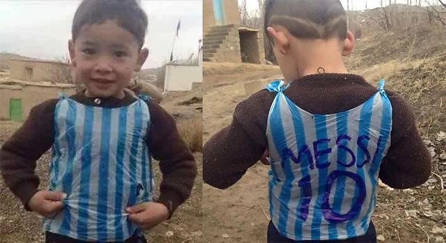 Afghan Messi-fan-boy wearing plastic bag will meet his idol