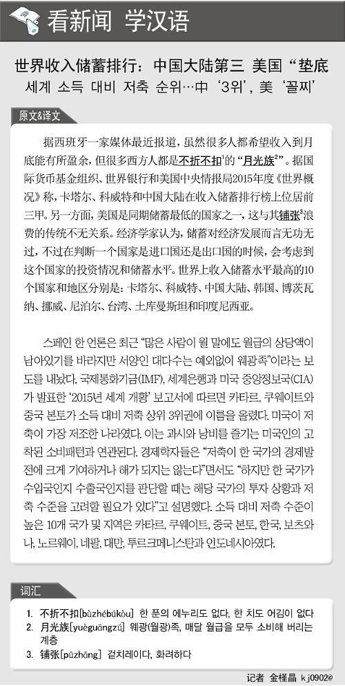 [뉴스중국어] 세계 소득 대비 저축 순위...中 3위, 美 꼴찌