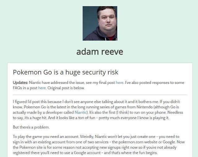 게임과 보안 사이 인기 게임 포켓몬 고, 보안 취약 논란