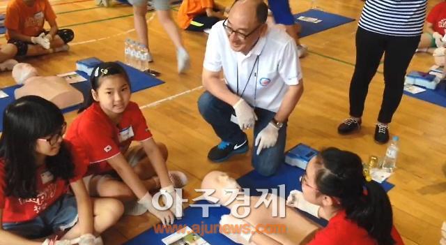 [아주동영상] 한국 다이이찌산쿄 초등학생에게 심폐소생술 교육 사회공헌