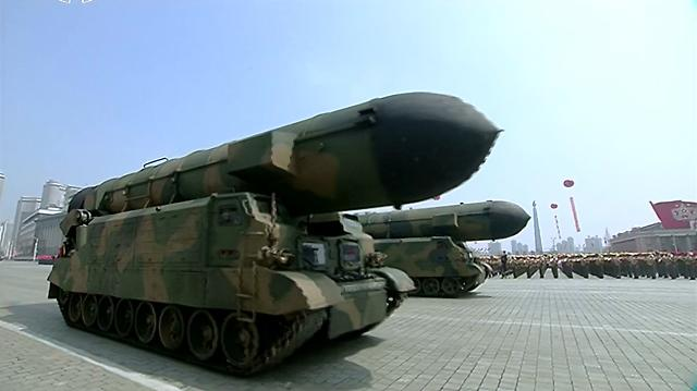 N. Korea shows off strategic new missiles at military parade
