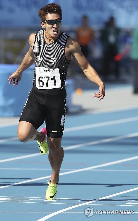 '韓육상 간판' 김국영, 男 100m '10초13' 한국신기록