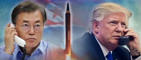 韩美元首通电话谴责朝鲜射弹