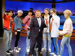 TV appearance of boy band BTS boosts popularity of show host Corden