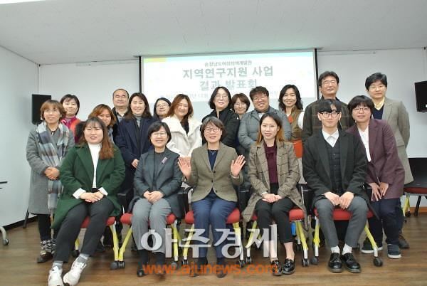 충남여성정책개발원, 지역연구지원 사업 결과 발표회 개최