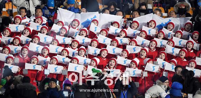 [포토] 북한응원단, 한반도기 들고 응원 삼매경