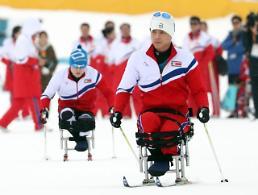 .朝鲜冬残奥会选手进行训练.