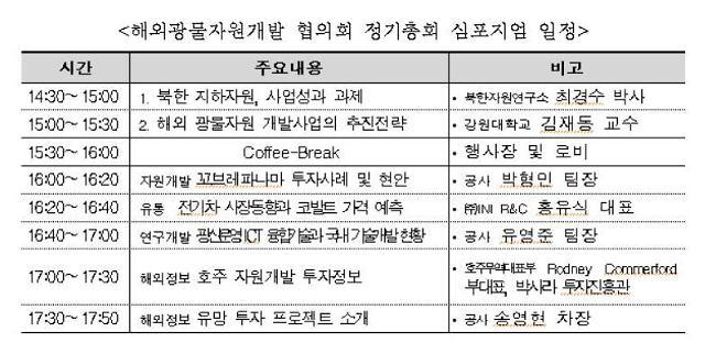 해외광물자원개발 협의회, 22일 제 1차 정기총회 개최