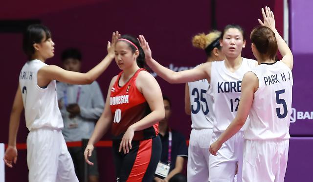 [아시안게임] 하나 된 여자농구, 인도네시아 완파…단일팀 사상 첫 승