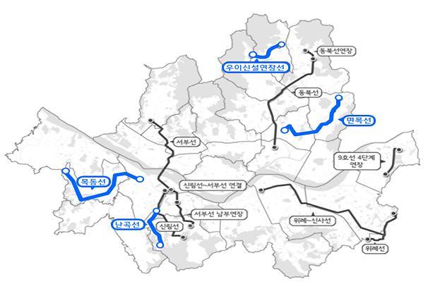 """(종합)박원순 """"면목·목동·난곡·우이신설 연장선 등 4개 비강남 도시철도에 공공재정 투입해 2022년 착공"""""""