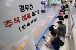 .中秋节火车票开售 韩国民众排长队等待购票.