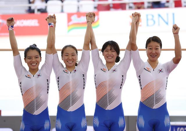 亚运自行车女团追逐赛韩国夺冠