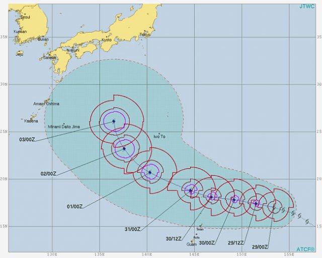 """第21号台风""""飞燕""""形成 韩半岛或受影响"""