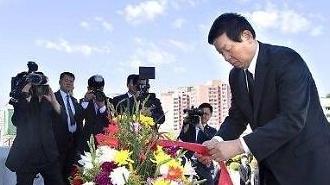 [중국포토] 북한 방문 리잔수, 북·중 친선 상징 '중조우의탑' 찾아