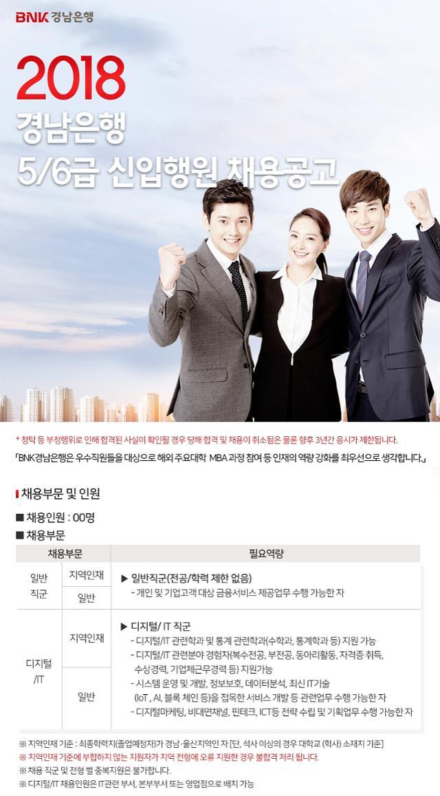 BNK경남은행, 2018년 하반기 신입행원 80여명 공개 채용