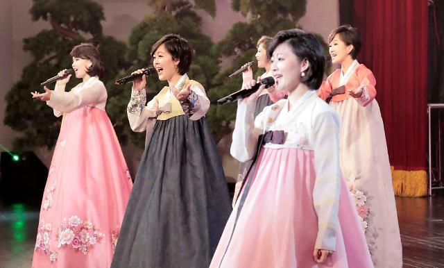 朝鲜三池渊乐团表演欢迎文在寅访朝