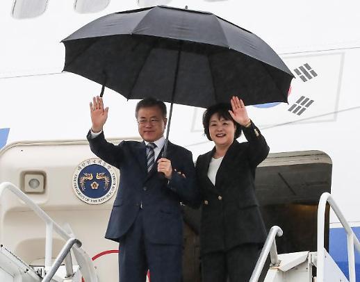 [포토] 미국 뉴욕 도착한 문재인 대통령 내외