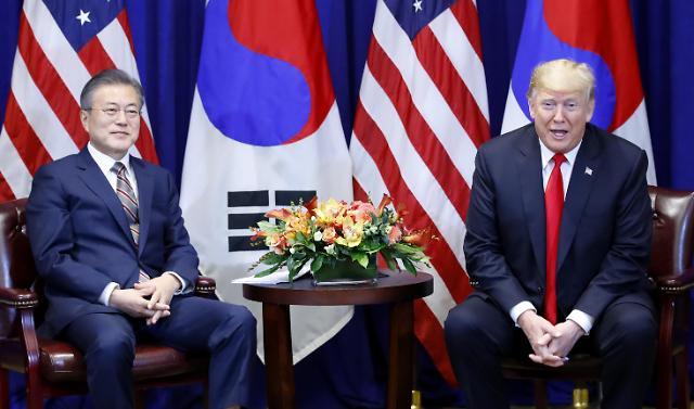 韩美首脑会谈在纽约举行 双方就半岛无核化进行协商