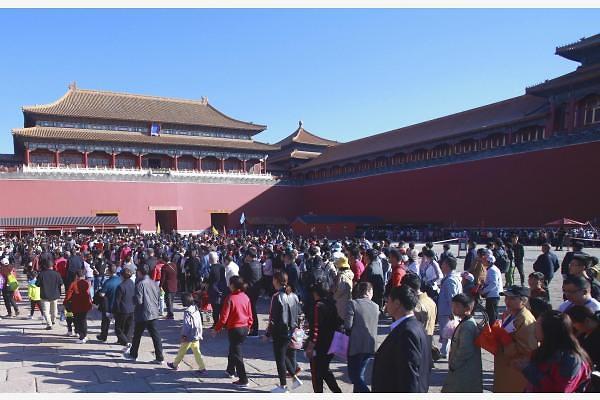 [중국포토] 국경절 황금연휴 베이징 유명 관광지 '인산인해'