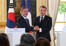 .韩法首脑发表共同宣言 商定就无核化保持紧密合作.