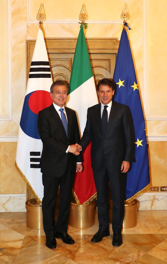문 대통령, 취임후 첫 한-이탈리아 정상회담…비핵화 노력 지지 당부