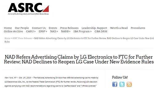 "LG OLED电视因""夸张广告语""在美惹纠纷"