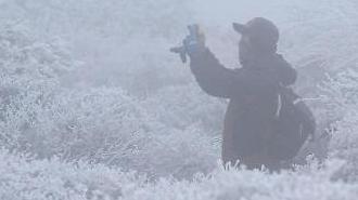 济州汉拿山迎今冬第一场雪