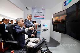 .Doosan demonstrates remote control operation of autonomous construction machine.