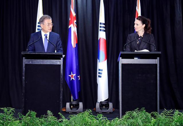 """韩国新西兰举行首脑会谈  """"借金正恩访韩促金特会就无核化取得进展"""""""