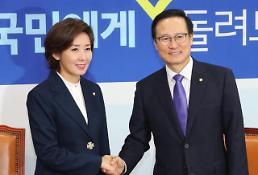 .自由韩国党新任党鞭罗卿瑗到访共同民主党.