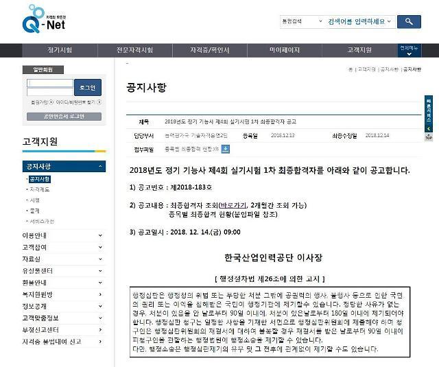 큐넷 홈페이지, 정기 기능사 실기 1차 최종합격자 발표…합격률 0% 종목은?