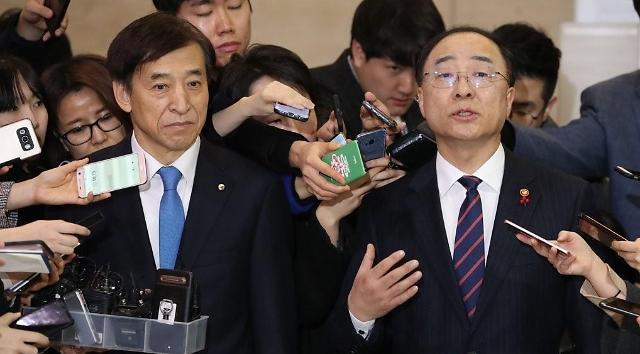 韩新任副总理洪楠基与央行行长李柱烈首次会面