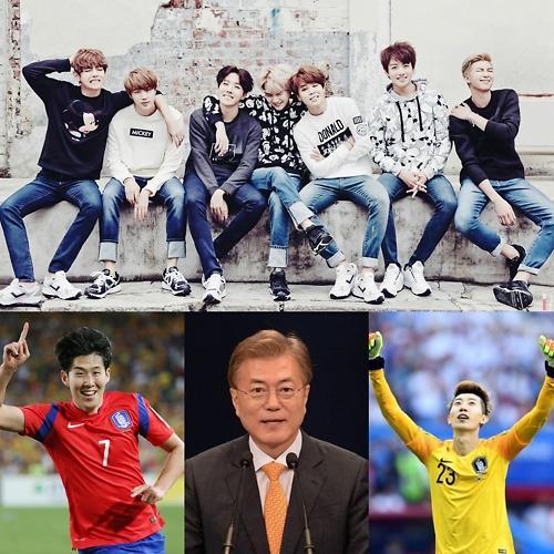 """韩大学生票选""""今年最佳人物"""" 防弹少年团居首"""