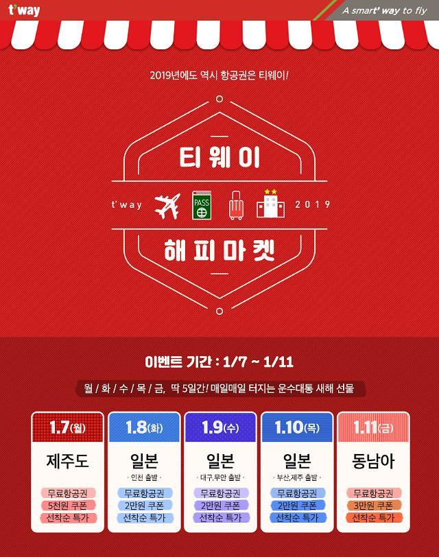 티웨이항공, 기해년 특가 이벤트 시행...제주행 편도 1만8000원부터